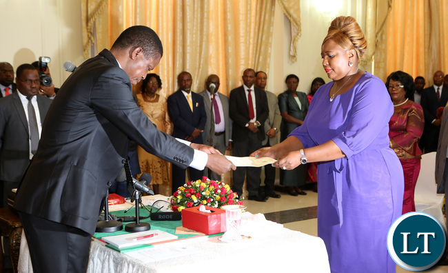 Dora Siliya duringthe swearing in ceremony at State house