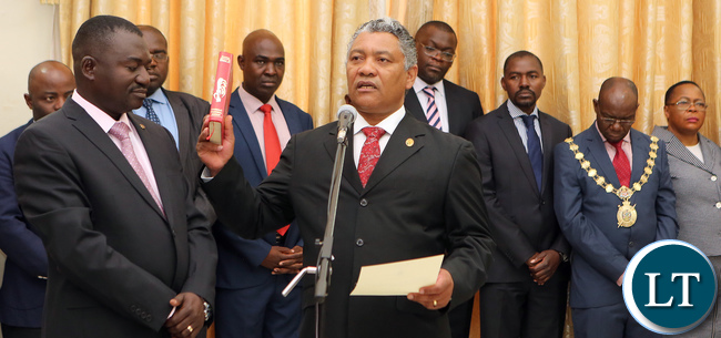 Given Lubinda Minister of Justice Chats with President Edgar Lungu