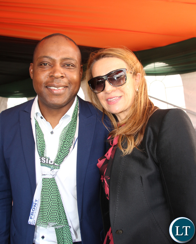 Former FAZ President Kalusha Bwalya and his wife at the inauguration ceremony