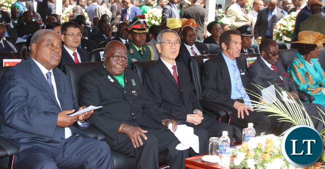 VVIP stand led by the Zambia 1st President Kennneth Kaunda and Zimbabwe President Robert Mugabe at the far end while former President Rupiah Bwezani 1st on left.