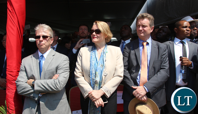 Foreign Diplomats who attended the inauguration ceremony led by American ambassador to Zambia Eric Schultz on left.