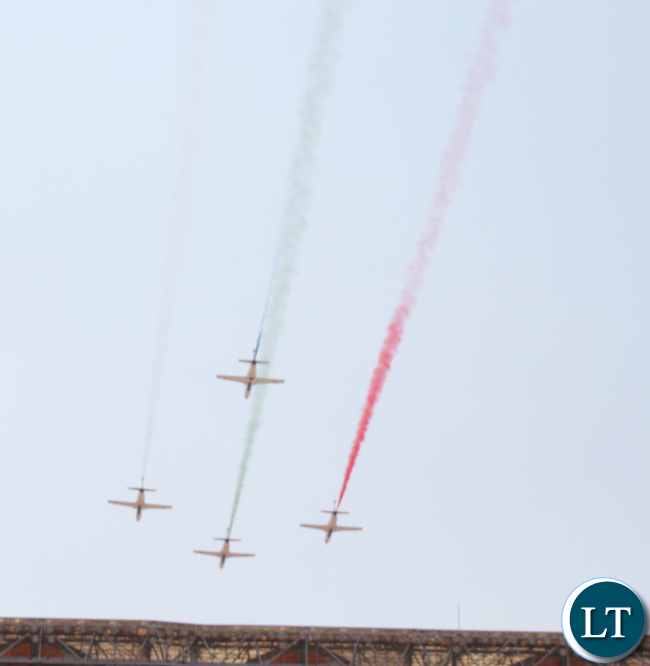 Zambia Airforce Jets fly over the stadium during the stadium during the inauguration ceremony