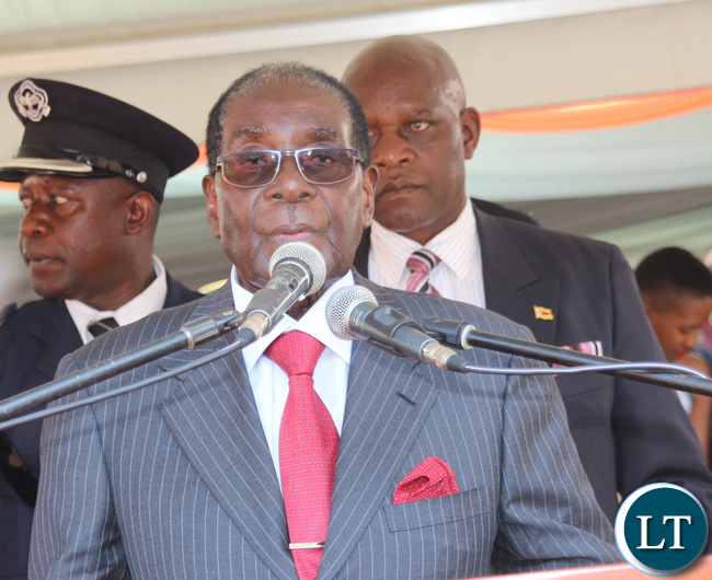 President Robert Mugabe delivering his speech.