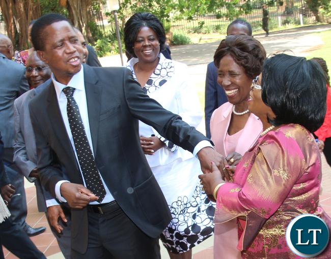 President Lungu chats with Prof Nkandu Luo