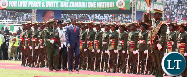 President Lungu inspecting the Guard of Honour