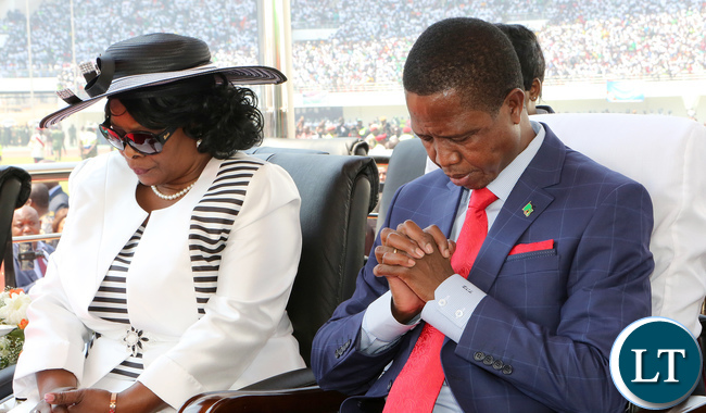 President Lungu with First Lady Esther Lungu in Prayers