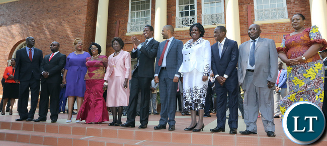 President Lungu with some of the new Ministers after the Swearing in Ceremony at Statehouse