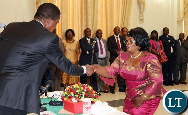 Prof Nkandu Luo Thanks President Edgar Lungu during the Swearing in Ceremony at Statehouse