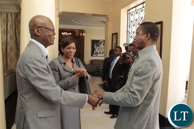 President Edgar Lungu chats with High Commission of the Republic of Malawi David Bandawe and First Secretary political Namibian Embassy Elina Ndadi at State House when the President meet the African Diplomats accredited to Zambia