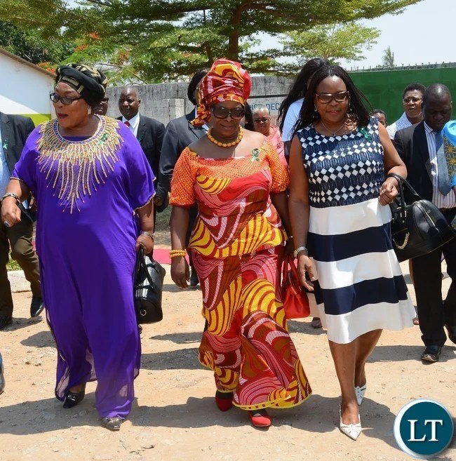 First Lady Esther Lungu(c), Second Former First Lady Vera Tembo Chiluba(l) and Third Former First Lady Maureen Mwanawasa(r) arrives at Giacomo Global Hand Washing Day at North mead Primary School