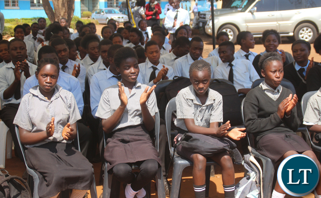 Some pupils of Lusaka Primary School Arthur Wina