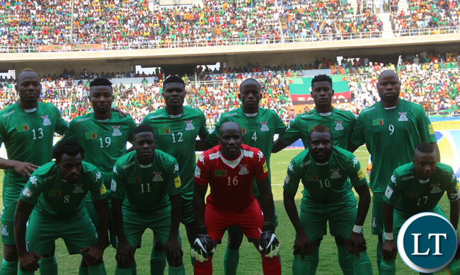 The Zambia National Team line up before the match
