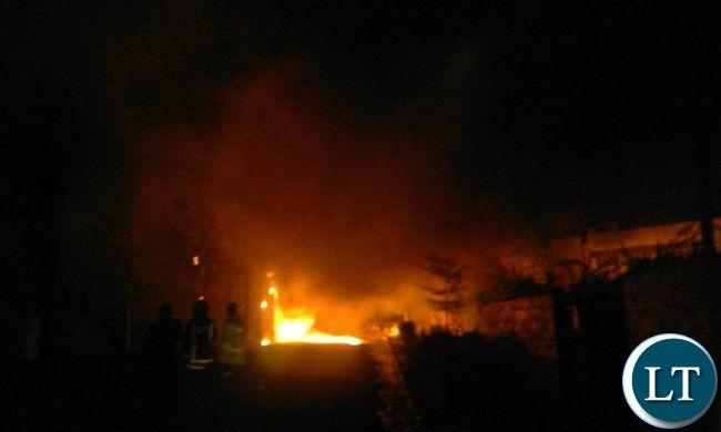 Mansa Shoprite building on fire