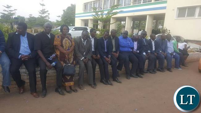 UPND MPs waiting outside Luanshya Central Police