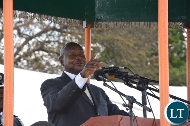 Ugandan President Yoweri Museveni giving his Key Note Speech at State House during the 52nd Independence Celebration