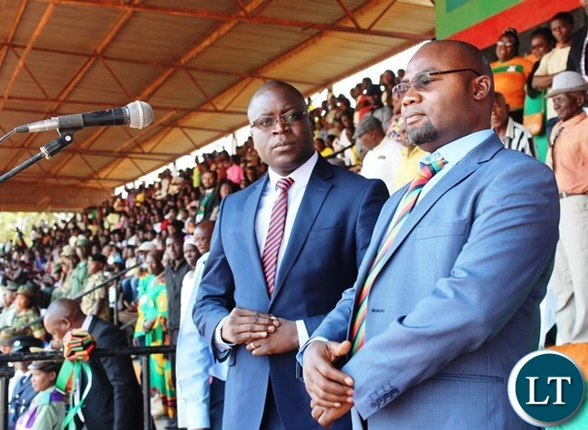 YOUTH, Sport and Child Development Minister, Moses Mawere (right) and Eastern Province Minister, at this year's Independence celebrations held at David Kaunda stadium in Chipata. PICTURE BY STEPHEN MUKOBEKO/ZANIS
