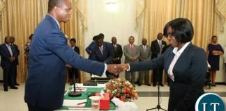 President Lungu swearing in Director of Public Prosecution Fulata Lillian Shawa Siyuni