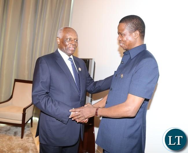 Angolan President Eduardo dos antos welcomes President Lungu at vila talatona conference centre in Luanda Angola for the Great Lakes Summit 26-10-2016..