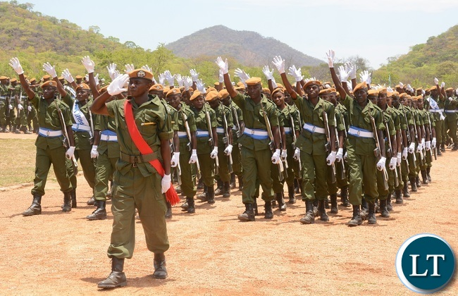 Paramilitary Graduates on Parade celebrates during the 2015-2016 Pass out Parade in Geoffrey Mukuma Training School or called Sondela in Kafue District