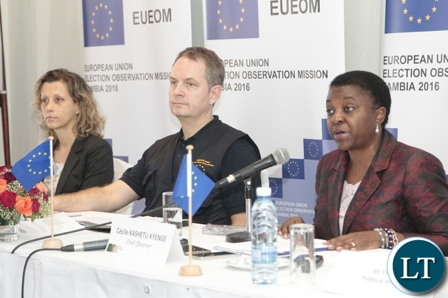 European Union Election Observation Mission in Zambia Chief Observer Cecilia Kashetu Kyange flanked with her Deputy Chief Observer Thomas Boserup and Electoral Analyst Teresa Polara addressing journalists during a presentation of the General Elections and Referendum Final Report at Intercontinental Hotel