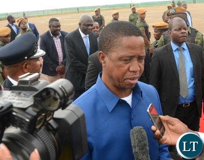 President Edgar Lungu speaking to Journalists before departure for Morocco at Kenneth Kaunda International Airport in Lusaka