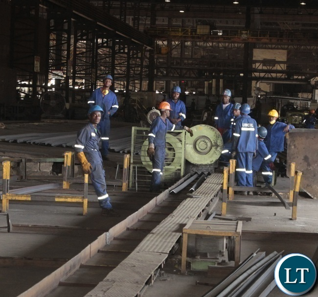 Workers at Universal Mining and Chemical Industries Limited (UMCIL) Kafue Steel Plant working as usual in the steel plant