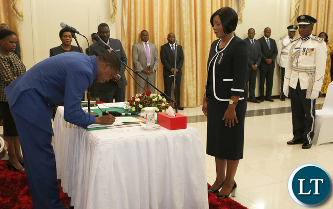 President Edgar Lungu Swearing in Hon Kampamba Mulenga Minister of Information and Broadcating Service