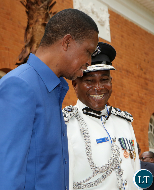 President Edgar Lungu with Mr Richard Mweene Commissioner of Police Northern Province