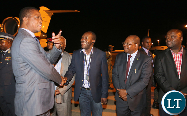President Lungu greets Kaizah Zulu on arrival from Morocco
