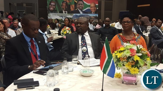 L - R: Zambia South Africa Business Council Chairperson, Mr. Charles Kalima, Minister for National Development Planning, Mr. Lucky Mulusa and Chief Executive Officer for Trade Invest Africa, Ms. Lerato Mataboge at the 'Invest in Zambia Business Forum' at Sandton Convention Centre in Johannesburg on 3rd November, 2016