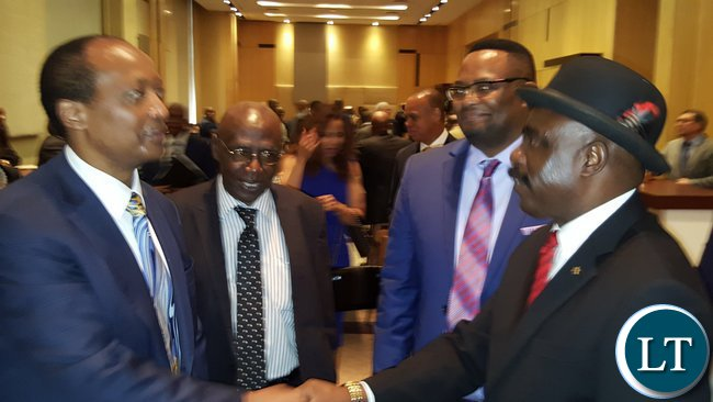 L-R Chief Mumena, His Excellency Mr. Emmanuel Mwamba and Paramount Chief Chitimukulu with African Rainbow Minerals founder, Mr. Patrice Motsepe at the 2016 ARM Broad-based Economic Empowerment (BBEE) Trust and Motsepe Foundation meeting in Sandton, Johannesburg on 22nd November, 2016.