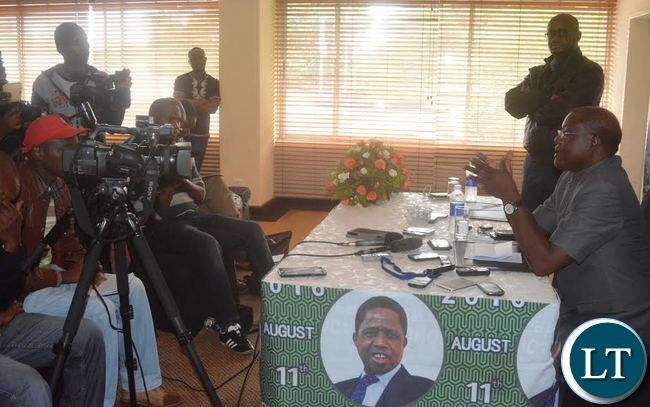 Patriotic Front National Chairperson Ngosa Simbyakula addressing the Media during the Patriotic Front Interactive Forum at Pamodzi Hotel in Lusaka