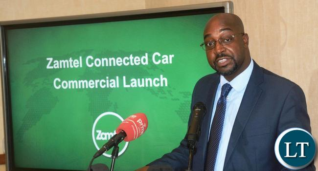 Communication and Transport Minister Brian Mushimbe speaking during the launch of  Zamtel Connected Car at Southern Sun Hotel in Lusaka