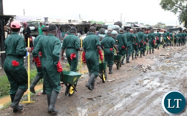 Zambia Army getting ready to clean up the drainage's in Kaunda Square Stage One in Munali Constituency