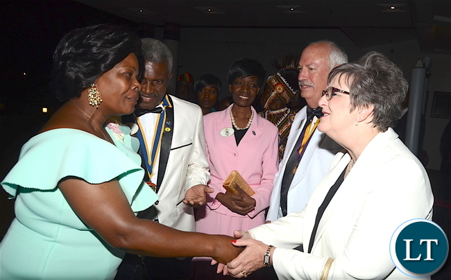 Lions International President Robert Corlew and his wife Diane Corlew being greeted by First Lady Esther Lungu during dinner hosted for him at Pamodzi Hotel in Lusaka on Thursday night, December 15,2016 -Pictures by THOMAS NSAMA