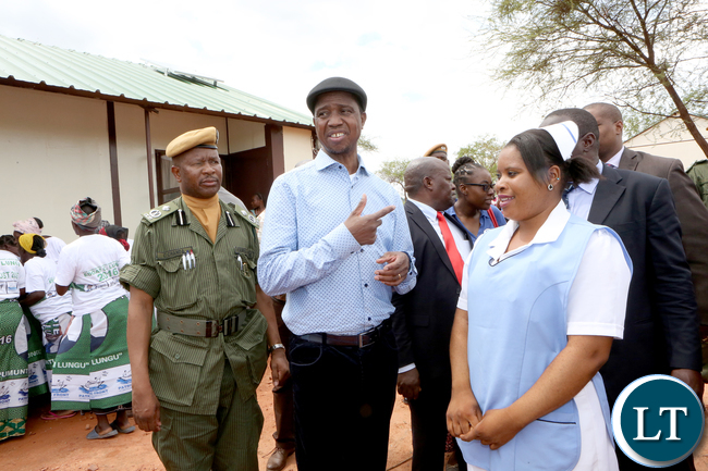 President Lungu Talk to a Nurse Mwiza Ludaka at Kapoche health Post in Luangwa District