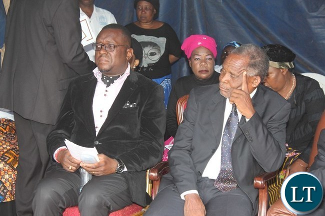 UNITED Party of National Development (UPND) Mazabuka Central Member of Parliament, Garry Nkombo and Japhet Lungu, elder brother of the late former Deputy Speaker of Parliament, Mkhondo Lungu, at the funeral house in Lundazi