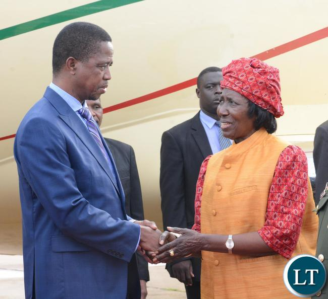 President Edgar Lungu being welcomed by Vice President Inonge Wina shortly after his arrival from Ghana yesterday 08-01-2016. Picture by Ennie Kishiki/ZANIS