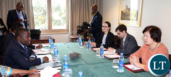 Harry Kalaba Minister of Foreign affairs meets Polish deputy minister of Foreign affiars Ms Joanna Wronecka at Sheraton Hotel  Addis Ababa on Saturday 28-01-2017- Picture Bby Eddie Mwanaleza/statehouse