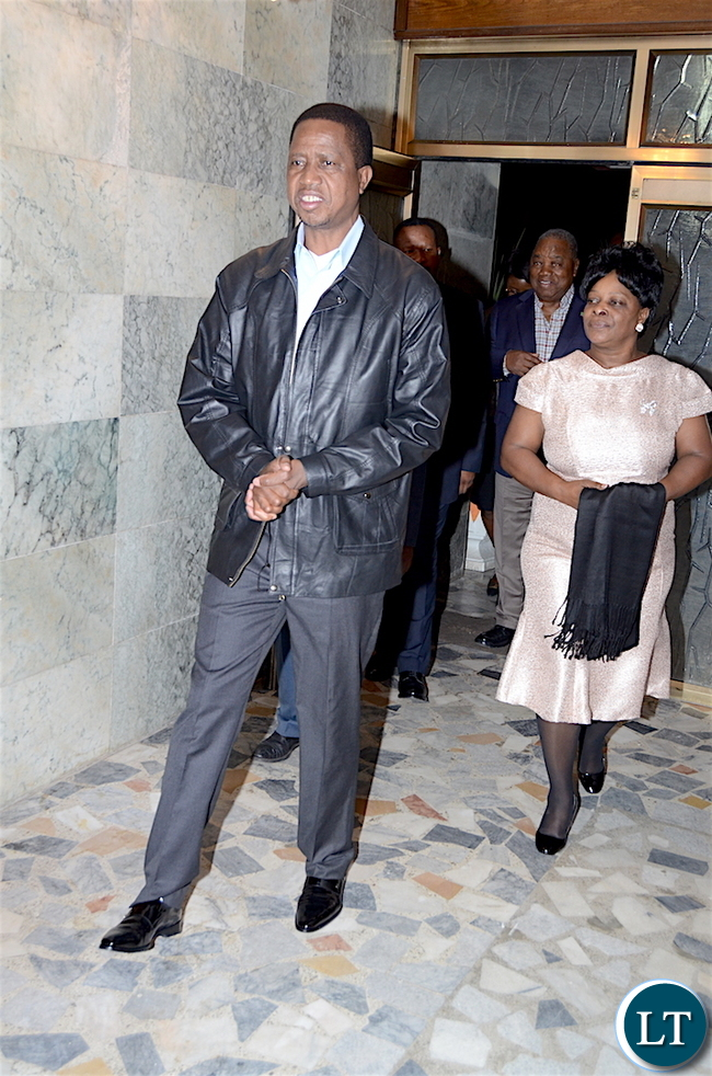 President Lungu and First Lady Esther Lungu arrives at Zambia's Ambassadors residence during the Zambian's  meet the Presidents dinner in Addis  Ababa, Ethiopia on Monday, January 29,2017 -Pictures by THOMAS NSAMA