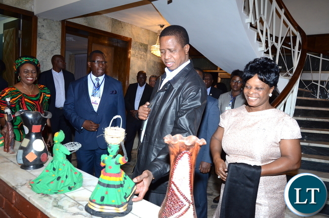 President Lungu and First Lady Esther Lungu  with First Lady Esther Lungu and Zambia's Ambassador to Ethiopia Susan Sikaneta  during the Zambian's  meet the Presidents dinner at the Ambassador's residence  in Addis  Ababa, Ethiopia on Monday, January 29,2017 -Pictures by THOMAS NSAMA