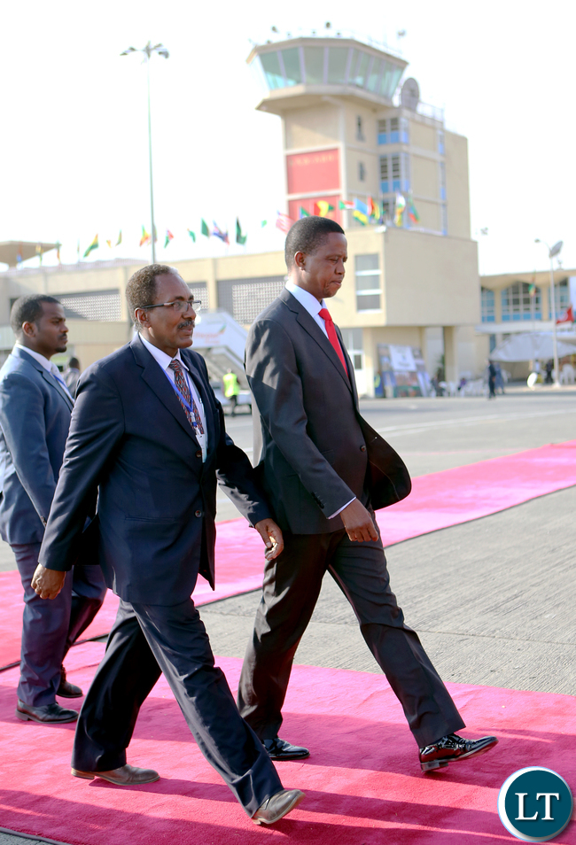 President Edgar Lungu being welcomed by Professor Fekadu Beyene Minister of Livestock and Fishery at Bole international airport in Ethiopia
