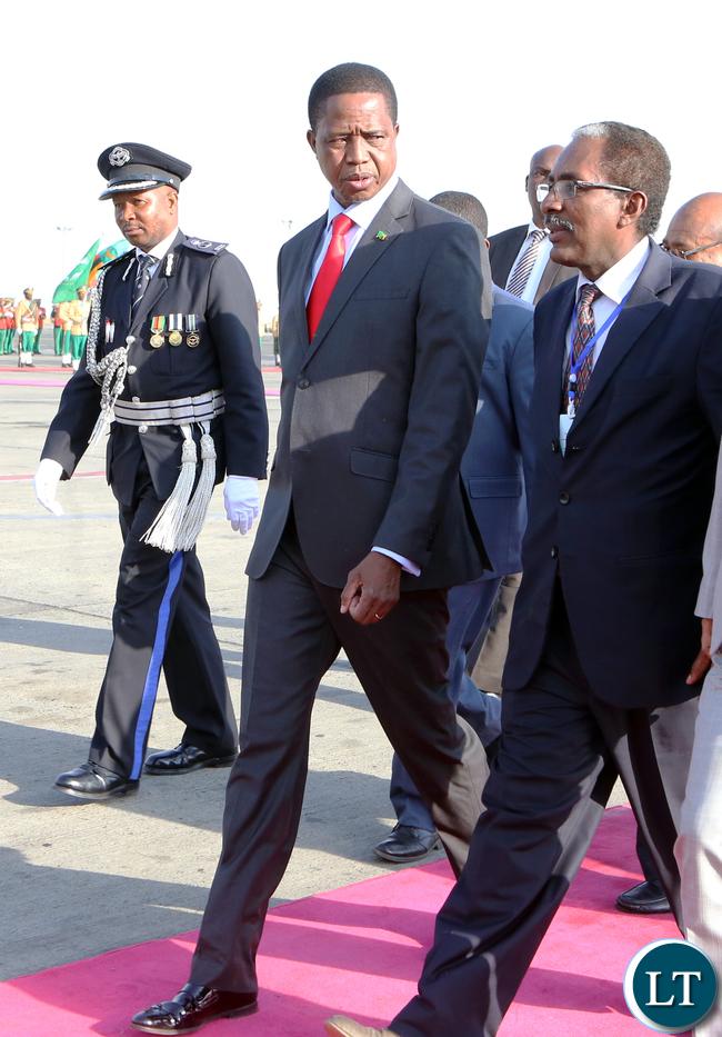 President Lungu arrive at the AU summit in Addis ababa