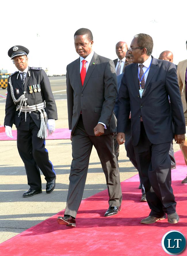 President Lungu arrive in Ethiopia