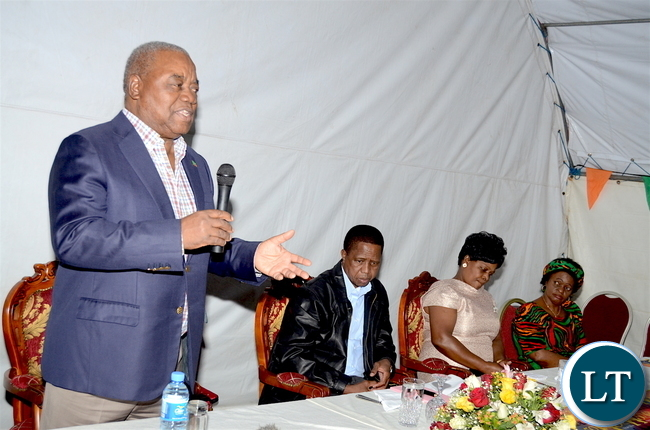 Former President Rupiah Banda speaks as  President Lungu, First Lady Esther Lungu and Zambia's Ambassador to Ethiopia Susan Sikaneta  listens  during the Zambian's  meet the President dinner at the Ambassador's residence  in Addis  Ababa, Ethiopia on Monday, January 29,2017 -Pictures by THOMAS NSAMA