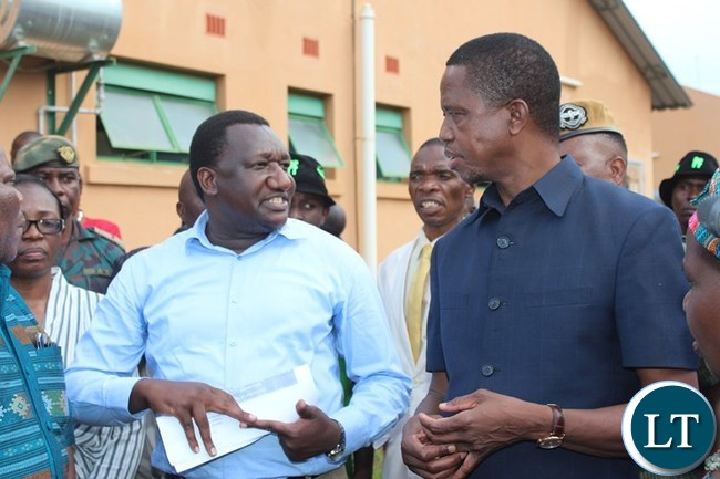 PRESIDENT Edgar Lungu interacts with Eastern Province Medical Officer, Abel Kabalo, when he inspected Lundazi District hospital in Lundazi on Saturday. PICTURE BY STEPHEN MUKOBEKO/ZANIS