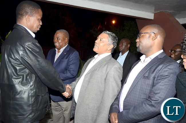President Lungu being welcomed by Justice Minister Given Lubinda as former president Rupiah Banda looks on on arrival  at Zambia's Ambassadors residence for the Zambian's  meet the President dinner in Addis  Ababa, Ethiopia on Monday, January 29,2017 -Pictures by THOMAS NSAMA