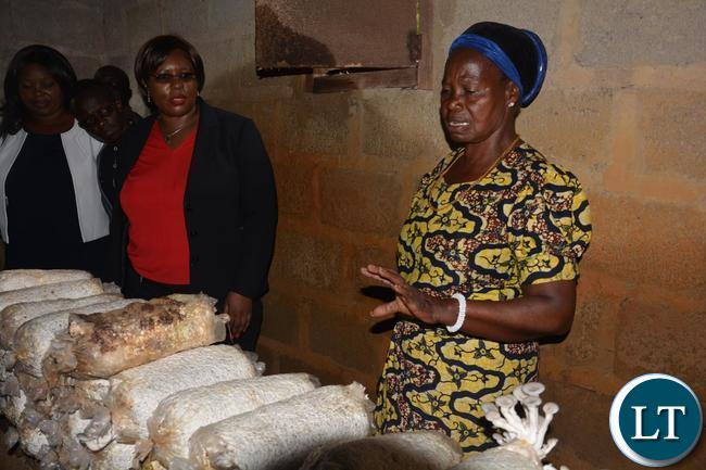 Melania Chipungu(r) a Farmer from Ibex Hill extension explaining to the Minister of Agriculture Dora Siliya(l) how to grow mushrooms.