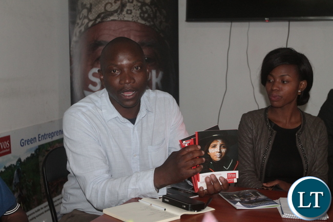 Hivos Southern Africa Communications Officer Masimba Biriwasha speaking during a meeting with Lusaka based Journalists last Thursday