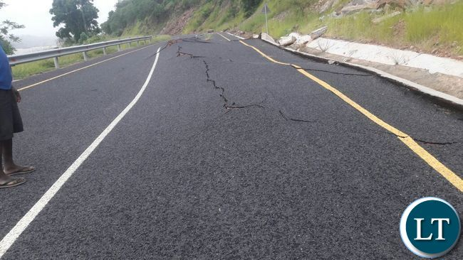 Part of the damaged Luangwa-Feira road